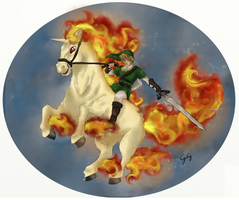 Link and Rapidash by giodude074