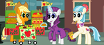 TAAotPP Rarity and Miss Pommel at the Apple Stand by FreshlyBaked2014