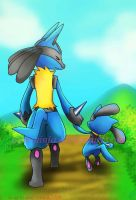 PKM:lucario and riolu 2 by pink-ninja