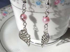 Silver Wing Earrings with Faux Pink Pearls by mizufusion