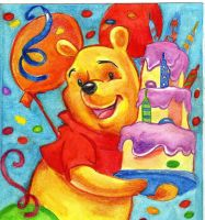 Winnie The Pooh Birthday Card by ZuzanaGyarfasova
