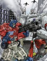 OPTIMUS PRIME VS MEGATRON by i3i11theWi11