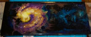 Galaxy on cherry wood by Phoenix-Cry