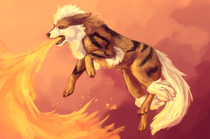 Arcanine Flamethrower by Singarl