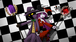 Veigar and Lulu as the Joker and Harley Quinn by MsVioletMagpie