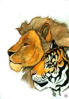 Lion And Tiger by Miss-Melis