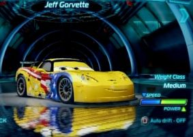Jeff Gorvette in the cars 2 videogame by JeffandLewis