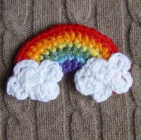 Crochet Rainbow with Clouds by meekssandygirl