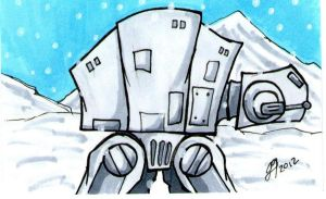 AT-AT sketch card by johnnyism