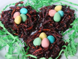 Chocolate Chow Mein Noodle Easter Nests by Kitteh-Pawz