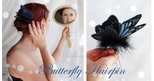 Butterfly Hairpin by glittrrgrrl