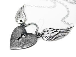 Angel Wing Keyhole Necklace by pila12903