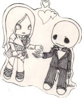 Jack and Sally Chibi Sticker by MischievousAndii
