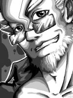 PW - Ganto Kaiji BW Portrait by HolyDemon