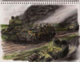 Panzer Grenadiers After the Battle by weirdraws