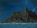 Skyship City at night, in a storm. Lake overflowin by vonmeer