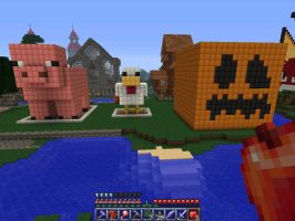 Giant Pig, Chiken and Pumpkin by fitipaldi93