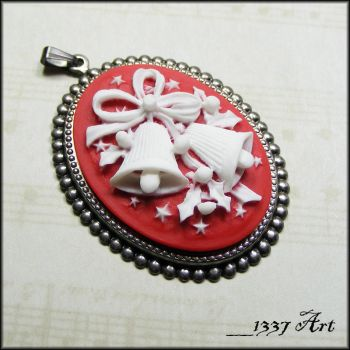 Christmas Bells and Holly Cameo Pendant by 1337-Art