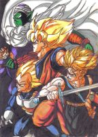Piccolo, Goku, Vegeta e Trunks by CelsoCarvalho