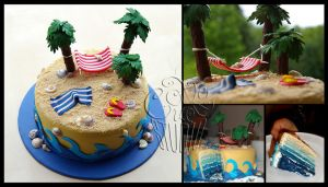 Tropical Island Cake - details by CakeUpStudio