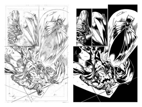 Mark Bagley's Batman 688 P. 3 final, side to side by VikThor