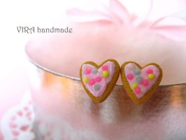 Kawaii heart shape frosted cookie ear studs by virahandmade