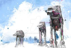 AT-ATs attack on Hoth by j2Artist