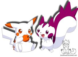 My pachirisu and picachu by Lanathewolf