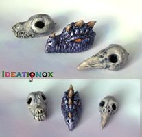 Dragon Head and Skull Necklace Charms by Ideationox