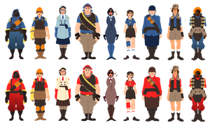 TF2 Genderbends by Ghostlullaby