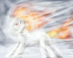 Flaming twilight sparkle in the winterstorm by FushigiOoka