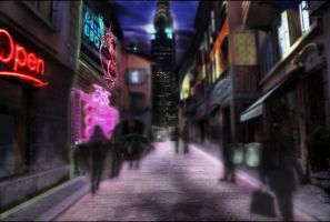 Backalley Neon with Silhuettes by LarsLasse