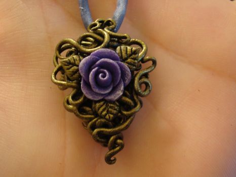 Purple Rose Pendant by CharpelDesign