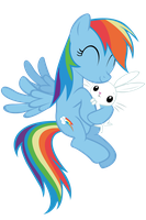 Rainbow Dash - Angel hugs by Ocarina0fTimelord