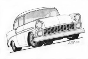 1956 Chevrolet Bel Air Pro Touring Drawing by Vertualissimo
