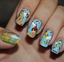 Angry Birds Nail Art by MadamLuck