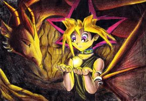 Yugi, a dragon and magic light by YunakiDraw