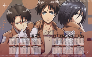 Yearly Calendar Wallpaper 2014 - Attack On Titan by edinaholmes