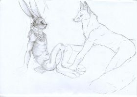 Bunny and Fox - sketch by Kitsune-Nyx