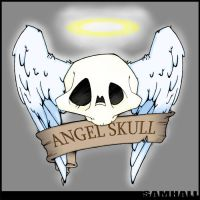 MY skull with feathered wings by SamHall