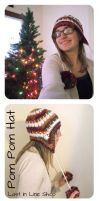 Cranberry Wine Pom Pom Hat by the-carolyn-michelle