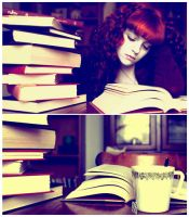 books and green tea by suzieqhorrorshow