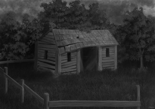 Abandoned shack, greyscale sketch by darkness404