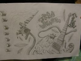 tattoo guitar perspective by FlYGiRl118