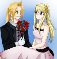 Ed + Winry - Pretty Flowers by Wolfs-Angel17