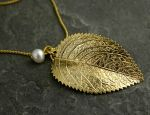 Raywood Gold Leaf Pendant by gazellejewelry