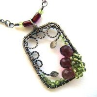 garnet peridot necklace by annie-jewelry