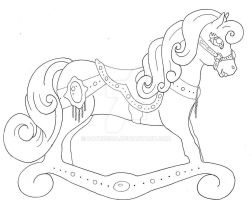 girly rocking horse line art by pathosda