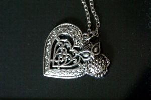 Owl Heart Necklace by foowahu-etsy