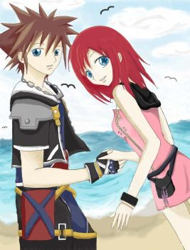 .:Together:. - Sora and Kairi by Blooming-Angel